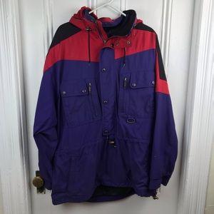 Vintage 1980s men's ski coat jacket red blue XL